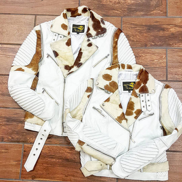 White Lambskin w/ Brown & White Cow Fur Collar - Reps And Scales