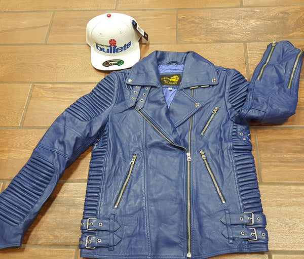 Ladies Blue Lambskin Leather Moto Jacket - Reps And Scales