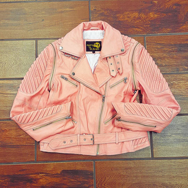 Ladies Pink Lambskin Leather Motorcycle Jacket/Vest Combo - Reps And Scales