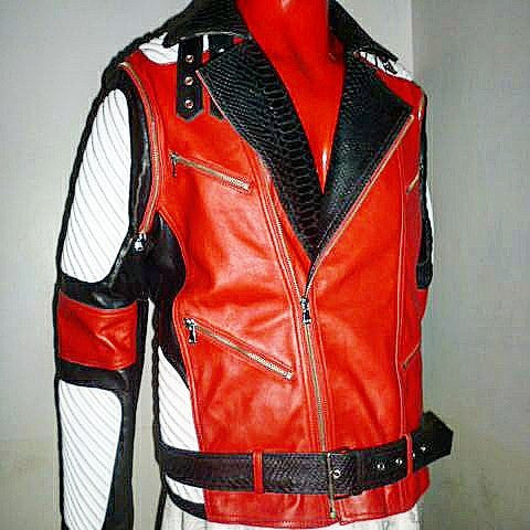 Red White & Black Lambskin Moto Jacket/ Vest Combo - Reps And Scales