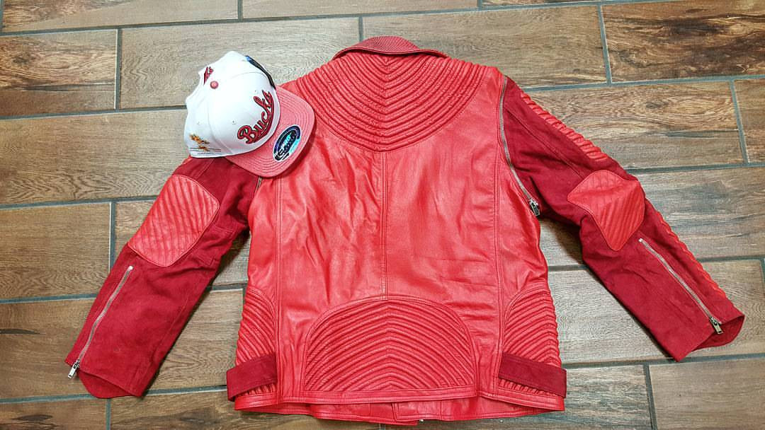 Red Suede w/ Red Lambskin Leather Moto Jacket  & Removable Suede Belt - Reps And Scales
