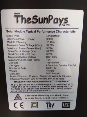 The Sun Pays - 300W Mono PERC 5BB Solar Panel