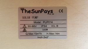 The Sun Pays 500 W Solar Pool Pump, Max Head 14m with Controller