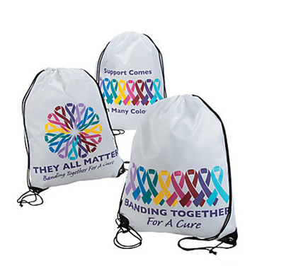 Cancer Awareness Drawstring Backpack