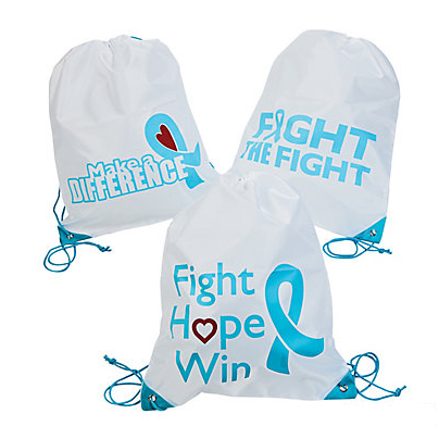 Light Blue Ribbon Awareness Drawstring Backpack