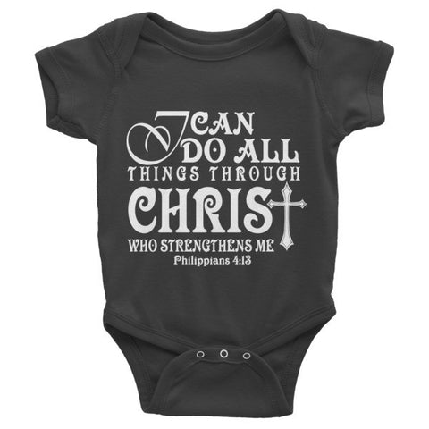Infant short sleeve one-piece (I can do All things through Christ)