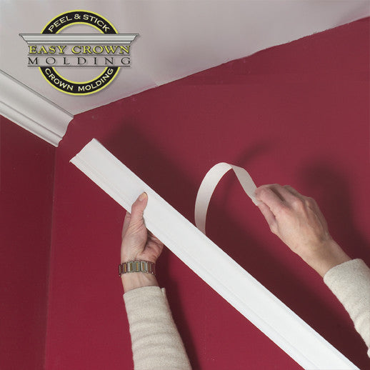 crown molding in a red room