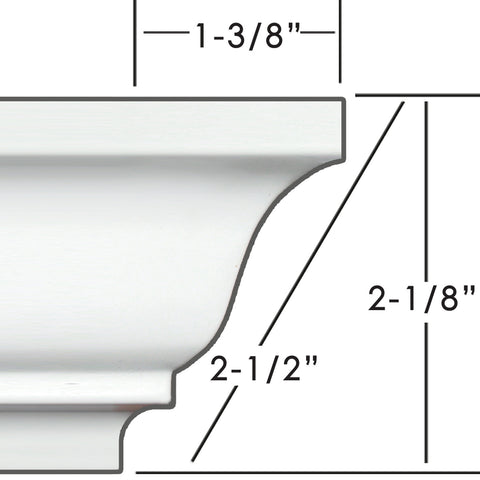 "2.5"" Easy Crown Molding 34"" (Custom room size)"