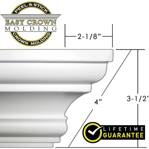 "4"" Easy Crown Molding 69' foot kit for textured ceilings"