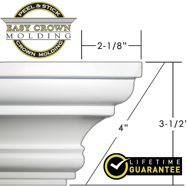 "4"" Easy Crown Molding 52' foot kit for textured ceilings"