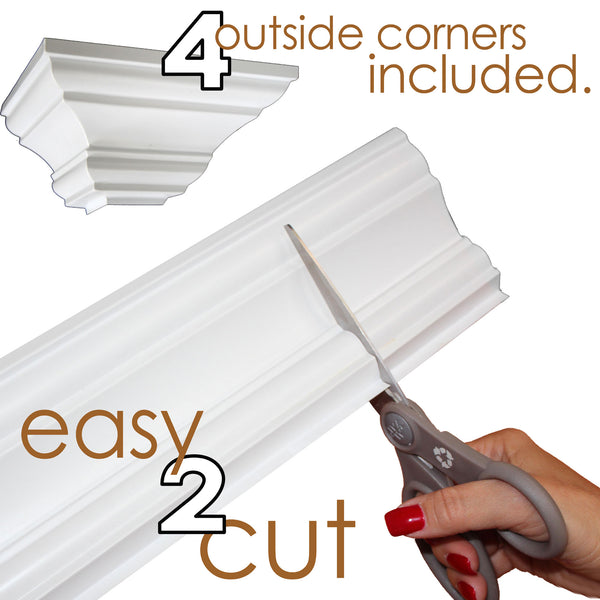 "4"" Easy Crown Molding 68' kit. Includes 16 inside and 4 outside corners."