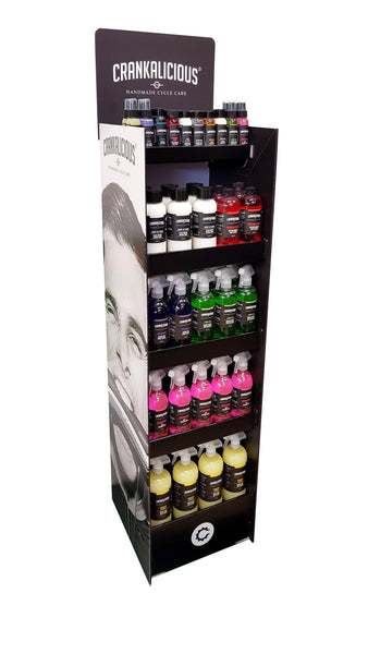 Fully Stocked FSDU (Free Standing Display Unit) 5-shelf RANGE INTRO DEAL - 86x products plus FREE POS, POS - Crankalicious