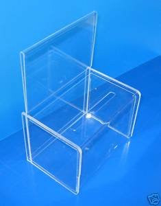 "Acrylic Donation Box with 6"" x 7.5"" Header - Clear"