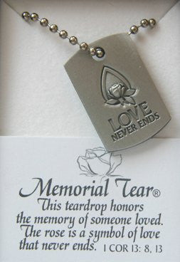 Memorial Tear Pewter Dog Tag Necklace