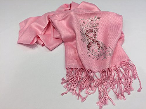Breast Cancer Awareness Rhinestone Pashmina Scarf