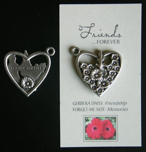 Floral Heart Pewter Token