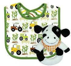 Down on the Farm Bib and Rattle Set