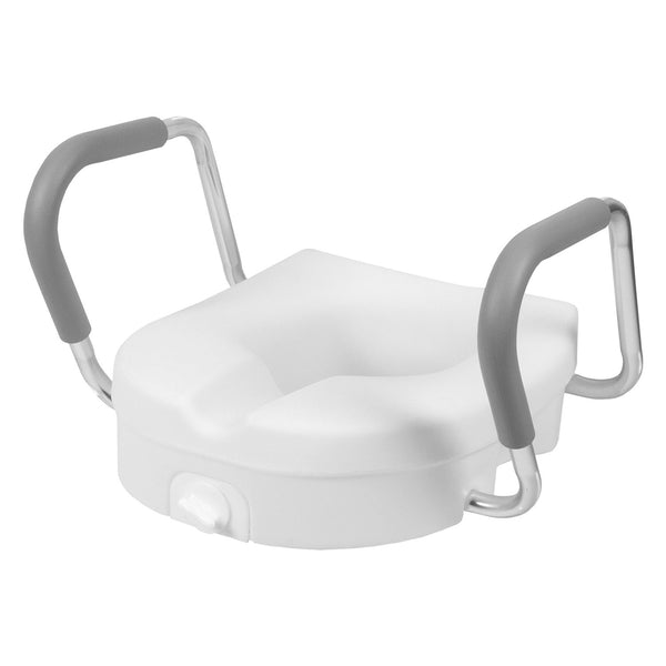Raised Toilet Seat With Removable Arms And Tightening Lock
