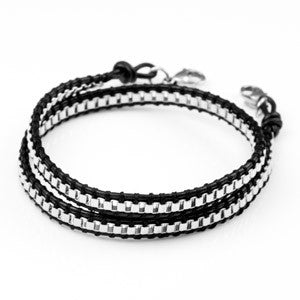 Stainless Chain Black Leather Women's Double Wrap Bracelet SM(No Plaque)