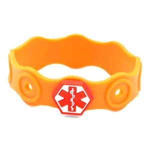 Kids Rubber Medical Bracelet for Allergy Buttons 6 Inch