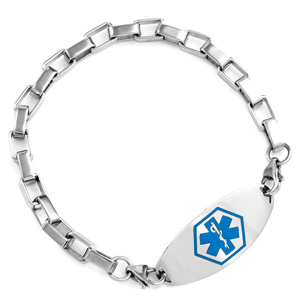 316L Stainless Steel Square Link Bracelet 7 In (No Tag)