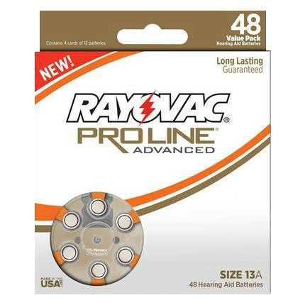 Rayovac ProLine Advanced Mercury-Free Hearing Aid Batteries, Size 13A - Value Pack