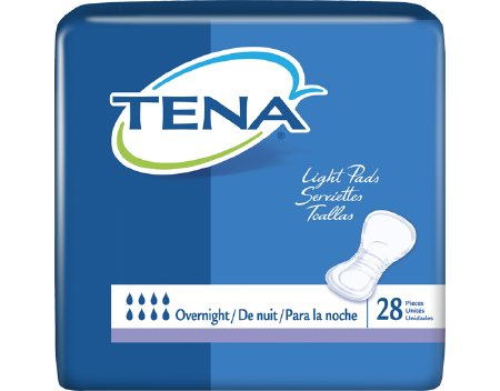 Bladder Control Pad TENA® Light Overnight 16 Inch Length Heavy Absorbency Dry-Fast Core™ Unisex Disposable