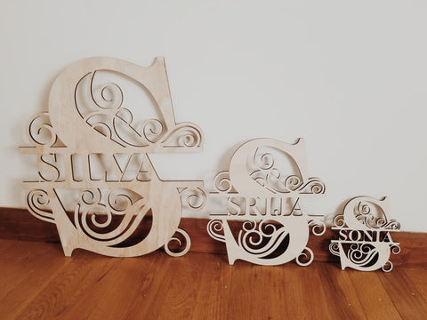 Custom Wooden Split Monogram Letters