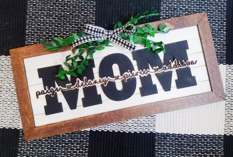 Personalized faux shiplap MOM sign
