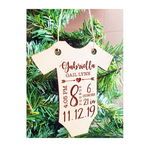 Birth Stats Engraved Wood Ornament // Baby Gift // New Mom Gift // Christmas Tree Ornament // Custom Ornament