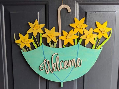 Daffodils in an Umbrella Front Door Hanger