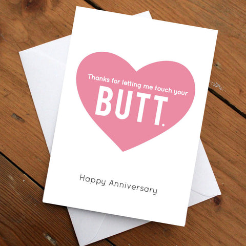Anniversary Card // Thank You Card // Greeting Card // Funny Card // Butt // Gift for Her // Gift for Him // Quirky Card // Anniversary Gift