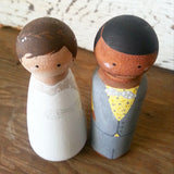 Personalized Wooden Peg Couple // Wedding Cake Topper // Wedding Day //  Bride and Groom