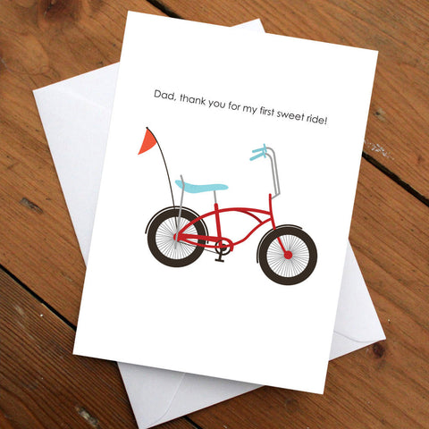 Card for Dad // Thank You Card // Bicycle Card // Father's Day Card // Male Gift // Gift for Dad // Handmade Card // Greeting Card //