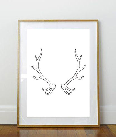 Antler Print // Art Print // Wall Art // Home Decor // Rustic Print // Minimalist Print // Deer Antlers // Simple Design // Deer Print //