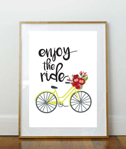 Enjoy the Ride // Art Print // 8 x 10 Print // 8 x 10 // Home Decor // Wall Art // Bicycle Print // Bicycle // Floral // Quote Print //