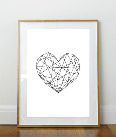 Geometric Heart Print // Art Print // 8 x 10 Print // 8 x 10 // Geometric // Minimalist Print // Simple // Heart Print // Black and White //
