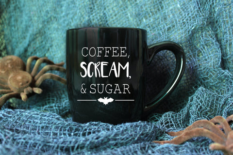 Coffee, Scream, & Sugar Coffee Mug // Halloween Mug // Fall Mug  // Vinyl Mug // Autumn Mug