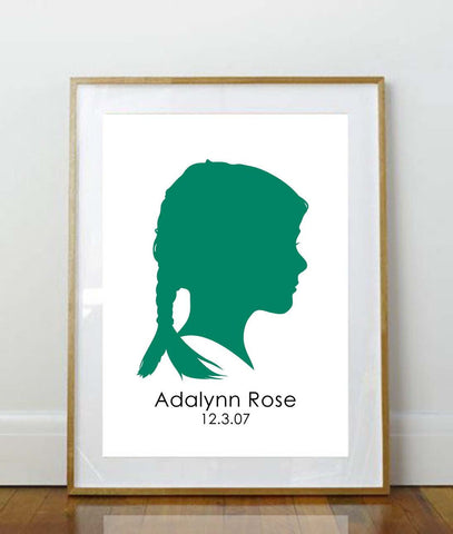 5 x 7 Child Silhouette // Custom Child Portrait // Child Portrait Silhouette // Custom //  5 x 7 Print // Keepsake // Personalized Print