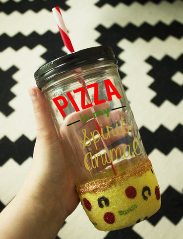 Pizza is My Spirit Animal Tumbler // Ball Jar  // Pizza // Pizza Tumbler // To Go Cup // Travel Cup // Mason Jar Tumbler // Glass Tumbler