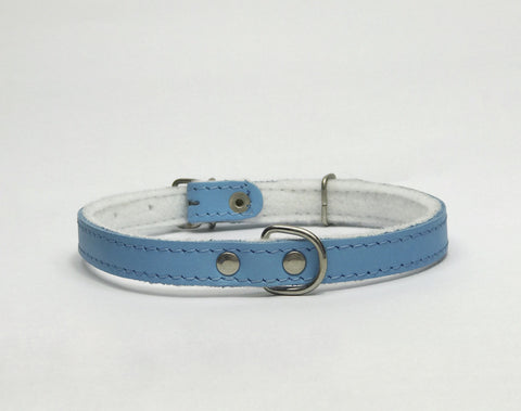 Light blue felt leather collar