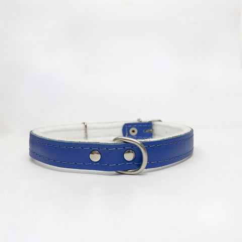 Dark blue felt leather collar