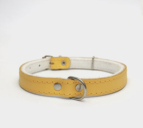Yellow felt leather collar
