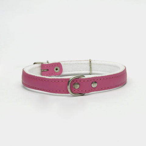 Dark pink felt leather collar