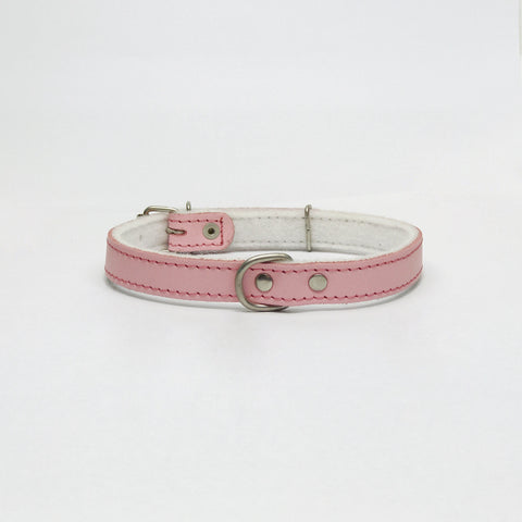 Light pink felt leather collar