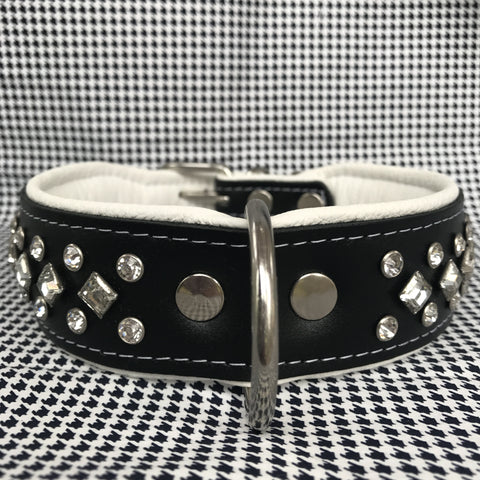 White Bedazzled Leather Collar