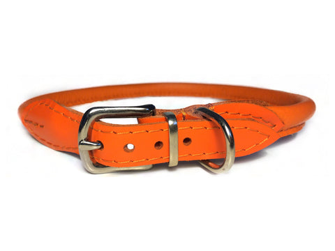 Orange rolled leather collar