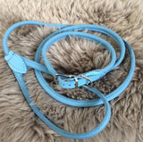 Light blue Rolled Up Leather Lead