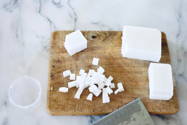white soap base cut into small cubes