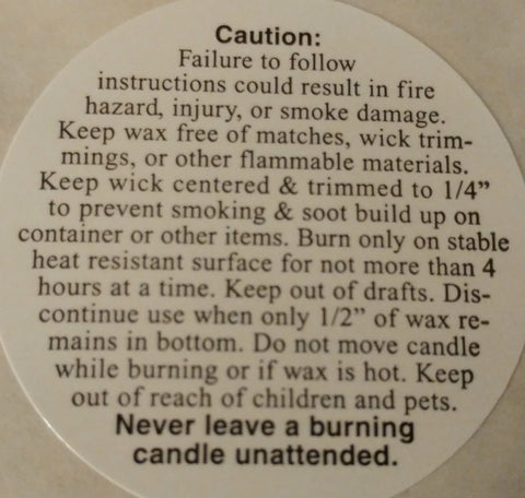 Round Candle Warning Labels